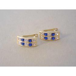 Zlaté naušnice dámske žlté zlato modrý zirkón VA153Z 14 karátov 585/1000 1,53 g