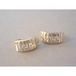 Zlaté naušnice dámske vzorované kombinované zlato VA163V 14 karátov 585/1000 1,63 g