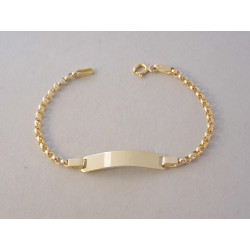Detský zlatý náramok zaujímavé očká Platnička DN14188Z žlté zlato 14 karátov 585/1000 1,88 g
