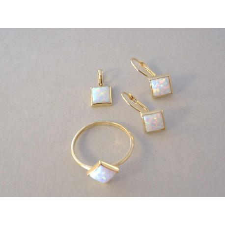 Dámska zlatá súprava prívesok ,naušnice, prsteň opál VS55358Z žlté zlato 14 karátov 585/1000 3,58 g