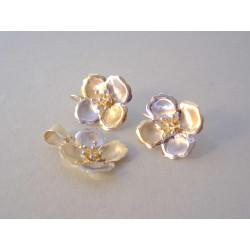 Nádherná zlatá dámska súprava prívesok, naušnice tvar Kvet VS576V viacfarebné zlato 14 karátov 585/1000 5,76 g
