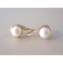 Dámske zlaté naušnice žlté zlato perla, zirkóny VA385Z  14 karátov 585/1000 3,85 g