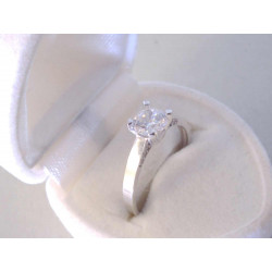 Jednoduchý dámsky prsteň veľký zirkón v korunke DP56205B biele zlato 14 karátov 585/1000 2,05 g