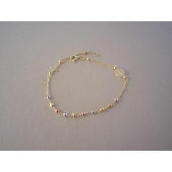 Zlatý dámsky ružančekový náramok trojfarebné guličky VN192V viacfarebné zlato 14 karátov 585/1000 2,0 g