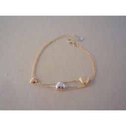 Zlatý dámsky trojitý náramok so Srdiečkami VN195311V viacfarebné zlato 14 karátov 585/1000 3,11 g