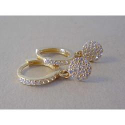 Dámske naušnice zlaté malé kruhy visiace zirkóny VA231Z žlté zlato 14 karátov 585/1000 2,31 g