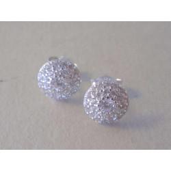 Zlaté dámske naušnice napichovačky biele zlato zirkóny VA141B 14 karátov 585/1000 1,41 g