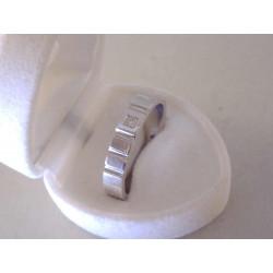 Zlatý  diamantový prsteň so zárezmi UNISEX VP68615B biele zlato 14 karátov 585/1000 6,15 g