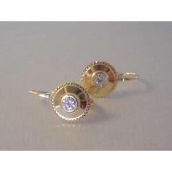 Zlaté dámske naušnice číry zirkón ,jemné zárezy DA175Z žlté zlato 14 karátov 585/1000 1,75 g