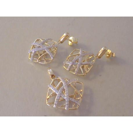 Zlatá dámska súprava prívesok, naušnice  zaujímavé tvary VS964V žlté zlato zirkóny14 karátov 585/1000 9,64 g