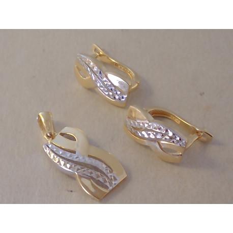 Zlatá súprava dámska jemne vzorovaná viacfarebné zlato VS438V 14 karátov 585/1000 4,38 g