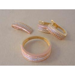 Zlatá súprava prívesok, naušnice, prsteň VS54676V viacfarebné zlato zirkóny 14 karátov 585/1000 6,76 g