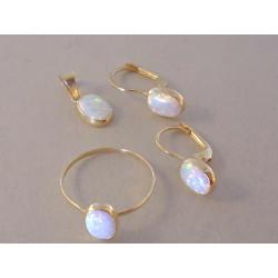 Zlatá dámska súprava prívesok,naušnice prsteň Opál VS5731Z žlté zlato 14 karátov 585/1000 3,10 g