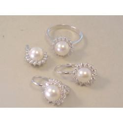 Zlatá dámska súprava prívesok,naušnice,prsteň biele zlato perla, zirkóny VS54887B 14 karátov 585/1000 8,87 g
