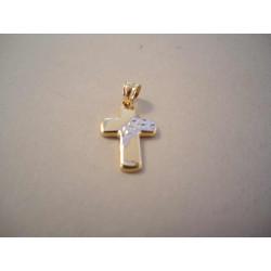 Zlatý krížik so zdobením z bieleho zlata DI070V 585/1000 14 karátové 0,70g