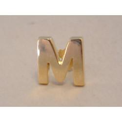 Zlatá pánska naušnica písmeno M napichovačka DA1Z žlté zlato 14 karátov 585/1000 1,0 g