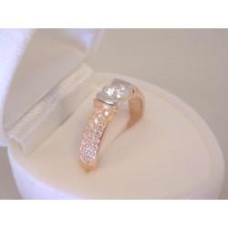 Zlatý dámsky prsteň červenobiele zlato zirkón VP55267V 14 karátov 585/1000 2,67 g