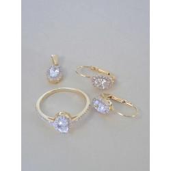 Zlatá súprava prsteň, náušnice, prívesok žlté zlato zirkóny VS57522Z 14 karátov 585/1000 5,22g