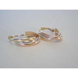 Zaujímavé dámske zlaté náušnice viacfarebné zlato DA244V 14 karátov 585/1000 2,44g