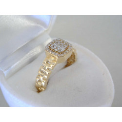 Zaujímavý zlatý prsteň žlté zlato zirkóny VD54375Z 14 karátov 585/1000