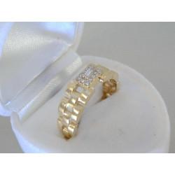 Zaujímavý zlatý prsteň zirkóny VD56372Z žlté zlato 14 karátov 585/1000