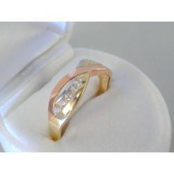 Zaujímavý dámsky zlatý prsteň zirkóny VP59224V viacfarebné zlato 14 karátov 585/1000 2,24g