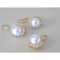 Zlatá dámska súprava prívesok,naušnice perly,zirkón DS648Z  žlté zlato 14 karátov 585/1000 6,48 g
