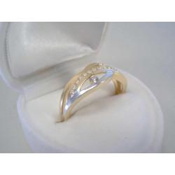 Zlatý dámsky prsteň viacfarebné zlato zirkóny DP58230V 14 karátov 585/1000 2,30 g