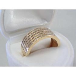 Výrazný dámsky zlatý prsteň žlté zlato ,kamienky zirkónu DP544Z 14 karátov 585/1000 4,0 g