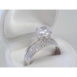 Žiarivý dámsky zlatý prsteň biele zlato číre kamienky DP57366B 14 karátov 585/1000 3,66 g