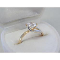 Zaujímavý dámsky zlatý prsteň žlto biele zlato zirkón DP49138V 14 karátov 585/1000 1,38 g