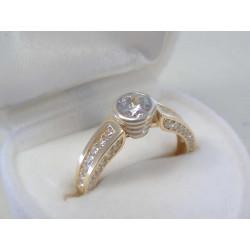 Pekný zlatý dámsky prsteň viacfarebné zlato,číre zirkóny DP52290V 14 karátov 585/1000 2,90 g