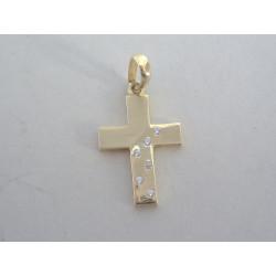 Zlatý prívesok krížik zirkóny žlté zlato DI101Z 585/1000 1,01g