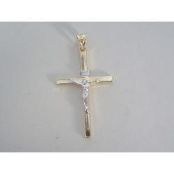 Zlatý prívesok krížik viacfarebné zlato ukrižovaný Ježiš DI191V 14 karátov 585/1000 1,91g