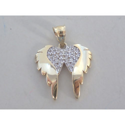 Zlatý prívesok krídla žlté zlato zirkóny DI145Z 14 karátov 585/1000 1,45g
