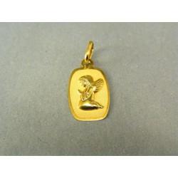 Zlatý prívesok kľačiaci anjelik na oválnej platničke DI065Z
