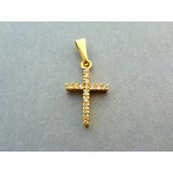 Zlatý prívesok krížik žlté zlato z vlozenými zirkónmi VI147K