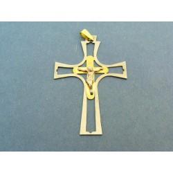 Zlatý prívesok  veľký kríž dvojfarebné zlato žlté a biele VI310K